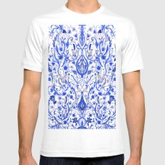 Indigo Folk paradise Mens Fitted Tee MEDIUM White