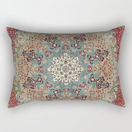 Antique Red Blue Black Persian Carpet Print Rectangular Pillow