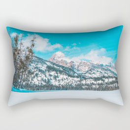 Taggart Lake Winter, Grand Teton National Park Rectangular Pillow