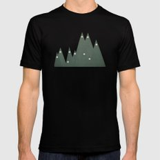 Moonlit Peaks Black Mens Fitted Tee MEDIUM