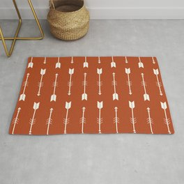 Burnt Orange & White Arrows  Rug