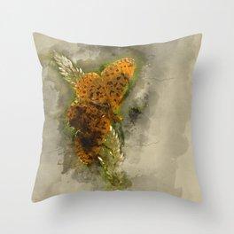 "Orange butterfly ""Boloria selene"" - watercolor Throw Pillow"