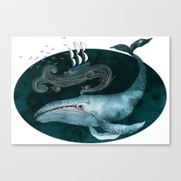 The whale and the ship Canvas Print
