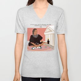 Girl Playing with Doll  Unisex V-Neck