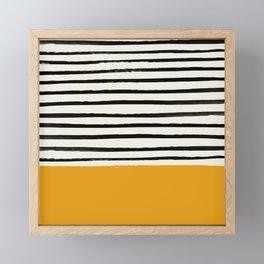 Fall Pumpkin x Stripes Framed Mini Art Print
