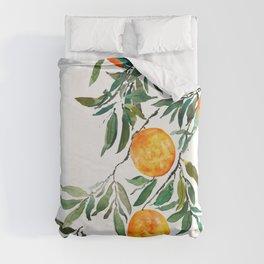 orange watercolor Duvet Cover