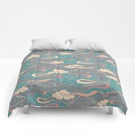 Colourful purple, pink, aqua clouds at twilight Comforters