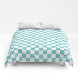 Aqua Checkerboard Pattern Comforters