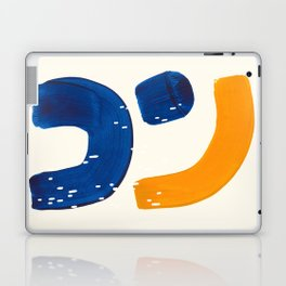 Minimalist Abstract Mid Century Modern Colorful Shape Yellow Blue Pattern Fun Art Laptop & iPad Skin