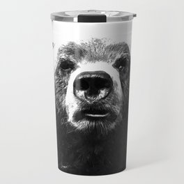 Black and white bear portrait Travel Mug