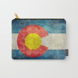 Colorado State Flag in Vintage Grunge Carry-All Pouch
