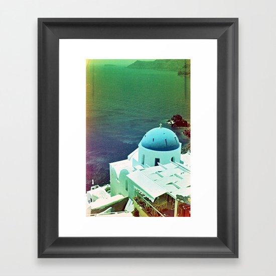 Blue Dome Church, Santorini: Shot with a Nikon FM2 and Revolog 600nm film Framed Art Print