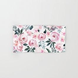 Floral Rose Watercolor Flower Pattern Hand & Bath Towel