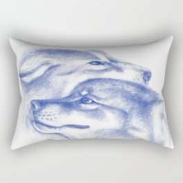 Two Wolves In Blue Art Drawing Rectangular Pillow