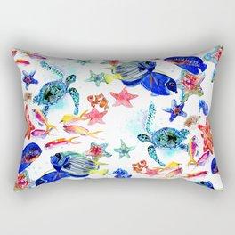 Sea World,Underwater Scene coral sea, beach tropical ocean sea beach house design Rectangular Pillow