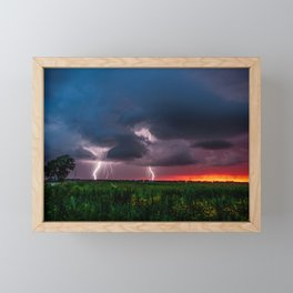 Lightning Bugs - Firefly Whirls About During Summer Storm in Oklahoma Framed Mini Art Print
