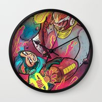 mega man Wall Clocks featuring Mega Man Tribute by Logan  Faerber