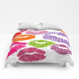 Colorful Lipstick Kisses Lip Color Comforters