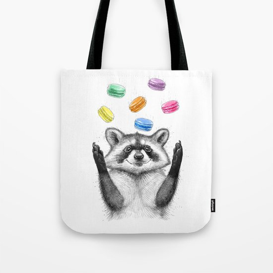 raccoon with cookies Tote Bag