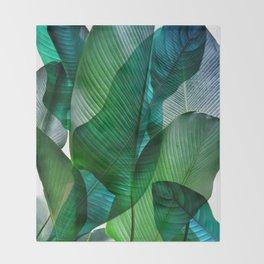 Palm leaf jungle Bali banana palm frond greens Throw Blanket
