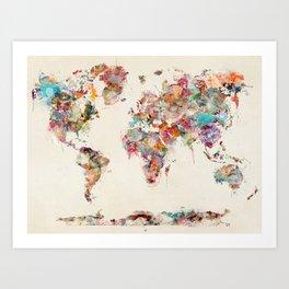 world map watercolor deux Art Print
