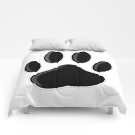 Black Dog Paw Print With Newsprint Effect Comforters