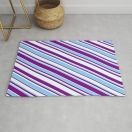 Purple, Mint Cream, and Light Sky Blue Colored Lined/Striped Pattern Rug