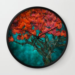 Abstract  Flower Tree Digital art Wall Clock