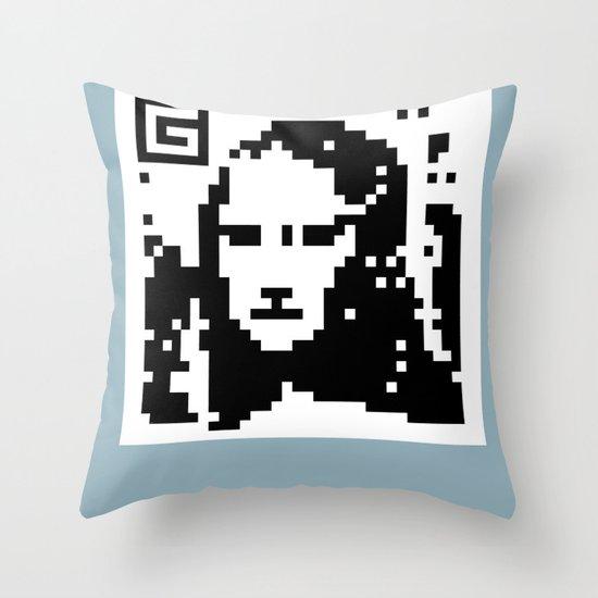 QR- Monalisa Throw Pillow