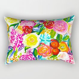 Bright Colorful Floral painting Rectangular Pillow