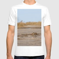 At the beach 1 MEDIUM Mens Fitted Tee White