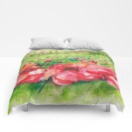 Red Flower Field Watercolors Comforters