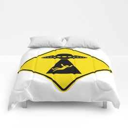 Alien Abduction Safety Warning Sign Comforters