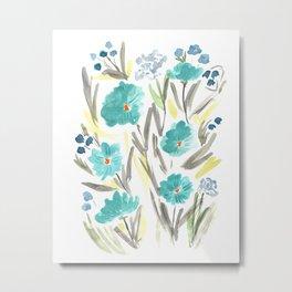 Farmhouse Chic Blue Floral Artwork Metal Print