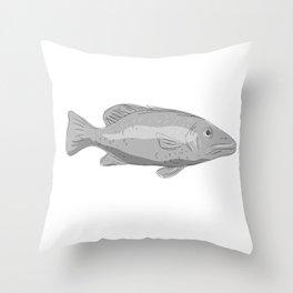 Schoolmaster Snapper Fish Drawing Throw Pillow