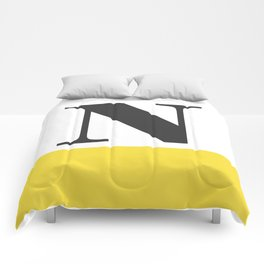 Monogram Letter N-Pantone-Buttercup Comforters