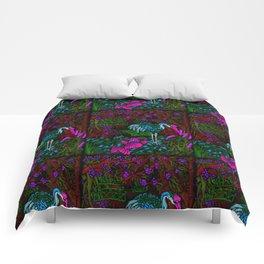 Asian Bamboo Garden in Black Velvet Watercolor Comforters