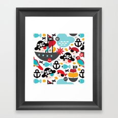 Cute kids pirate ship and parrot illustration pattern Framed Art Print