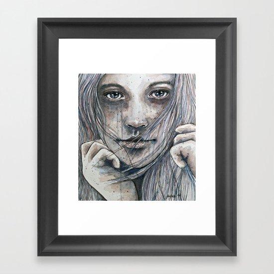 Summer dreams of winter, watercolor illustration Framed Art Print