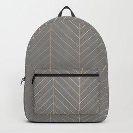 Gold & Grey Chevron Backpack