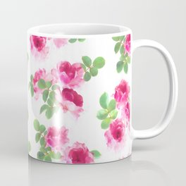 Raspberry Pink Painted Roses on White Coffee Mug
