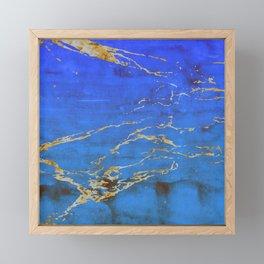 Sky Blue Marble With 24-Karat Gold Nugget Veins Framed Mini Art Print