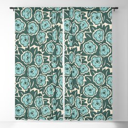 Flower Bouquet Pattern Mint Green on Green Blackout Curtain
