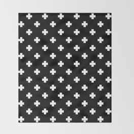 White Swiss Cross Pattern on black background Throw Blanket