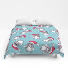 Cute Christmas Winter Penguin Watercolor Santa Hat Comforters