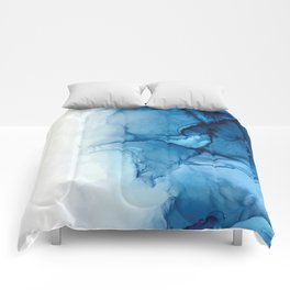 Blue Tides - Alcohol Ink Painting Comforters