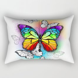 Composition with Rainbow Butterfly Rectangular Pillow