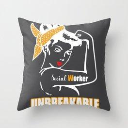Unbreakable woman pride social worker Throw Pillow