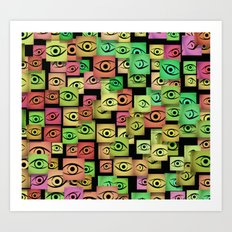 Red and green abstract eyes Art Print