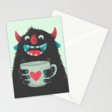 Demon with a cup of coffee Stationery Cards